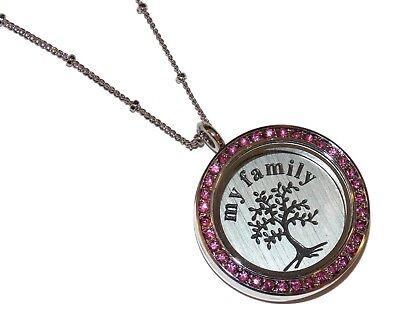 Pink My Family Tree Birthstone Locket Necklace Floating Glass Charm Jewelry USA