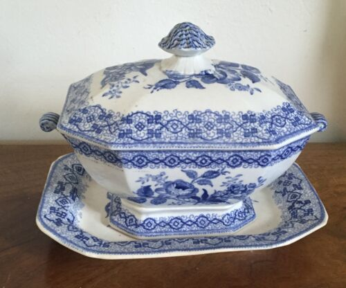 Antique 19th c. English Pottery Tureen Platter Blue & White Transferware H & Co.