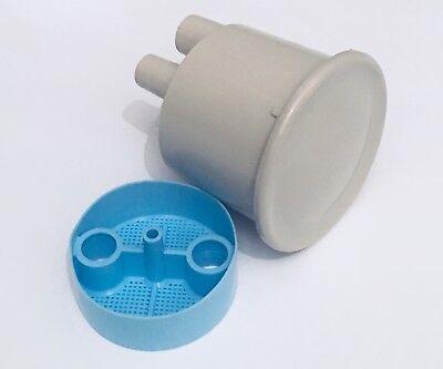 2-18 Type A Vacuum Canister Bottom Port - Twist Lid Dental Vacuum Evacuation