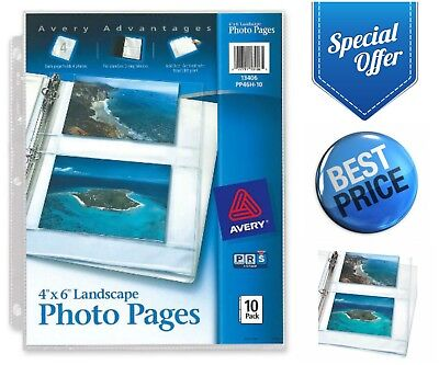 """Avery Horizontal Photo Pages 4"""" X 6"""" 10-Pack 40 Photos for 3-Ring Binder Sleeves"""