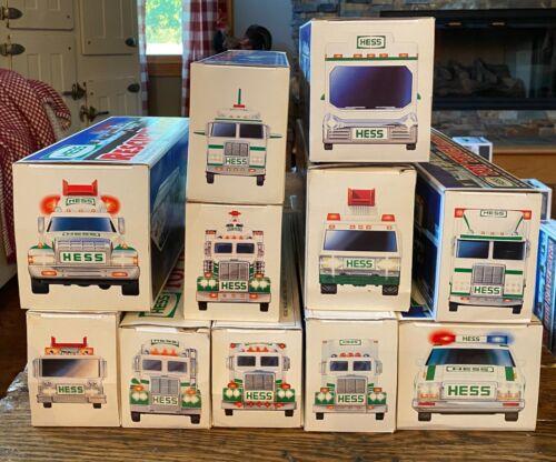 Hess Truck Lot Of 11 Trucks/Cars 1989-1999 All in Original Packaging Most NIB
