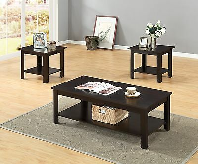 (3 PCs Wooden Top and Frame with Storage Shelf Coffee Table and End Table Set)