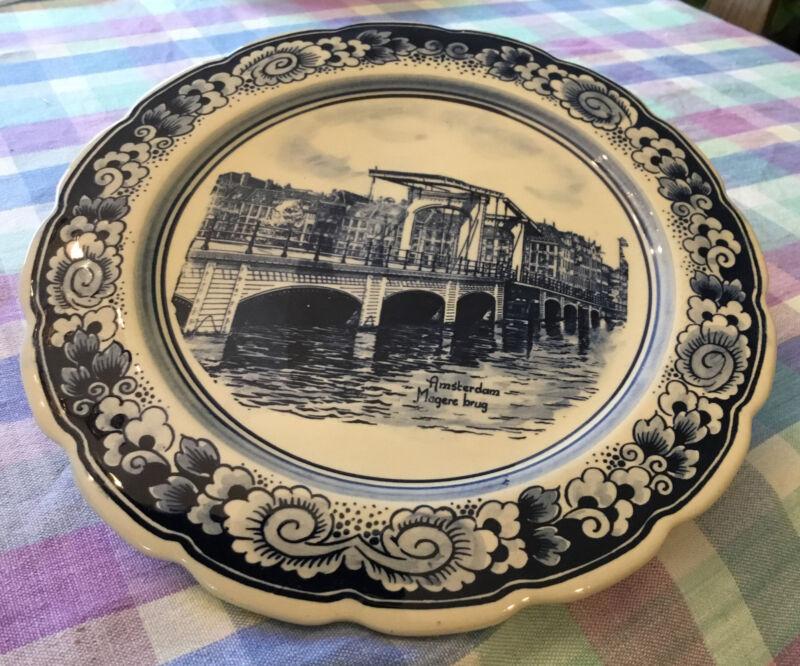 "Delft Blue Plate  Amsterdam Magere Brug 9"" Round Souvenir plate EUC"
