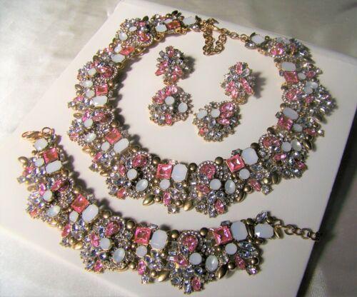 PINK Multi Color Stunning Vintage Style Crystal  Rhinestone & Glass Necklace Set