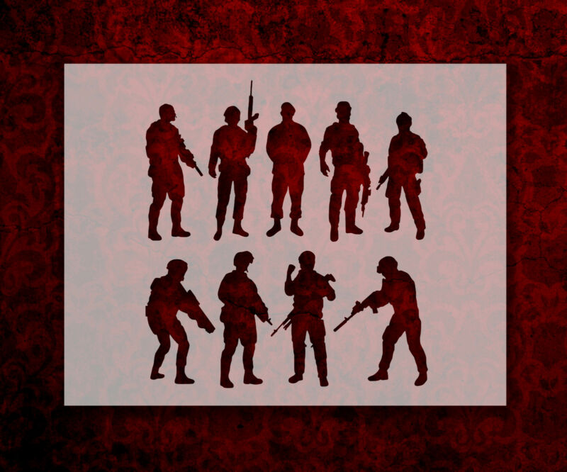 """Soldiers Army Marines Military 8.5"""" x 11"""" Stencil FAST FREE SHIPPING (778)"""