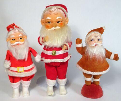 Vintage 60s Plastic Felt & Flocked SANTA CLAUS Figure-Doll-Decor Lot of 3, Japan