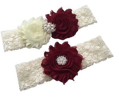 Burgundy wedding garter for bride from small to plus size ivory bridal garter](Plus Size Wedding Garter)