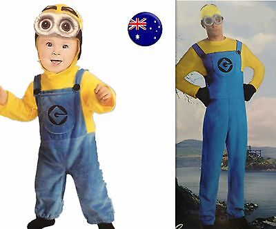 Kid Boy Girl OR adult man Despicable me Halloween Minions Party Costume set (Girl Minions Costume)