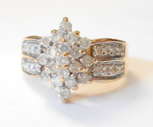 Vintage Tiered Dazzling Diamond Cluster 10K Yellow Gold Cocktail Ring Size 10.75