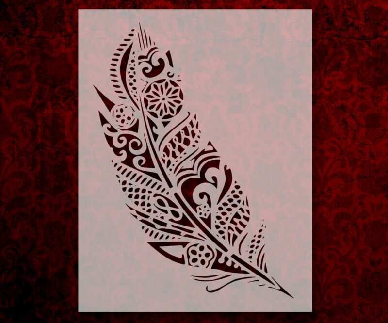 """Tribal Feather Detailed 8.5"""" x 11"""" Stencil FAST FREE SHIPPING (803)"""