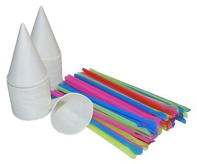 400 White Snow Cone Cups 4 Oz And 400 Colorful Spoon Straws