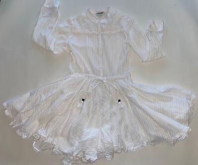 zadig voltaire White Summer Cotton Shirt Dress Drawstring Waist Size S
