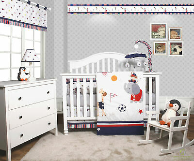 6-Piece Animal Sports Festival Baby Boy Nursery Crib Bedding Sets By OptimaBaby