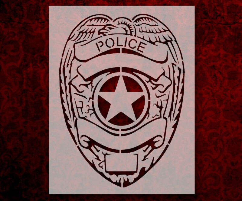 """Police Badge Police Department 8.5"""" x 11"""" Stencil FAST FREE SHIPPING (719)"""