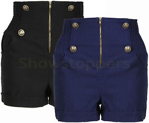 HIGH-WAISTED-NEW-Womens-SHORTS-MILITARY-SIZE-8-10-12-14-Ladies-Hotpants-STRETCH