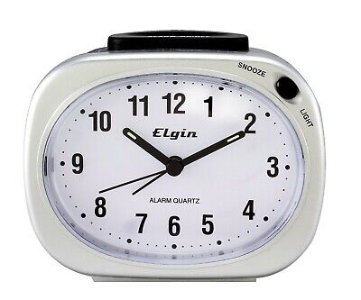 3640E Elgin Battery Powered Backlight on Demand Silver Tone Analog Alarm Clock