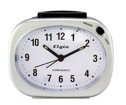 3640E Elgin Battery Powered Backlight on Demand Silver Tone Analog Alarm Clock
