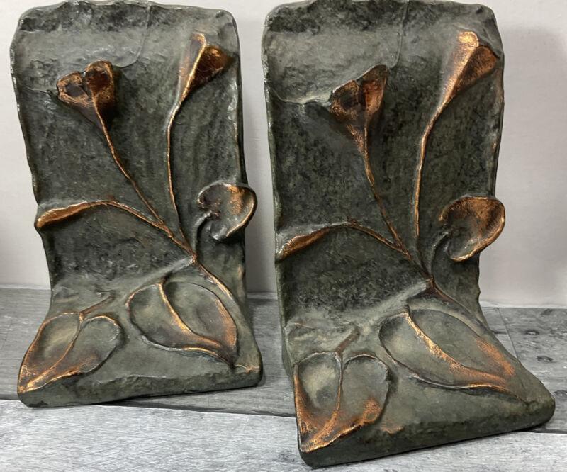 "Pr. Vintage Signed KRAFTWARE Bronze Art Nouveau Flower Bookends 6"""