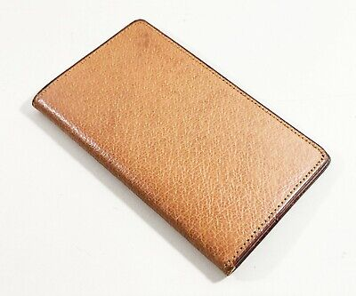 Vintage Leather Business Card Holder Tan Brown Wales Made In England Circa 1953
