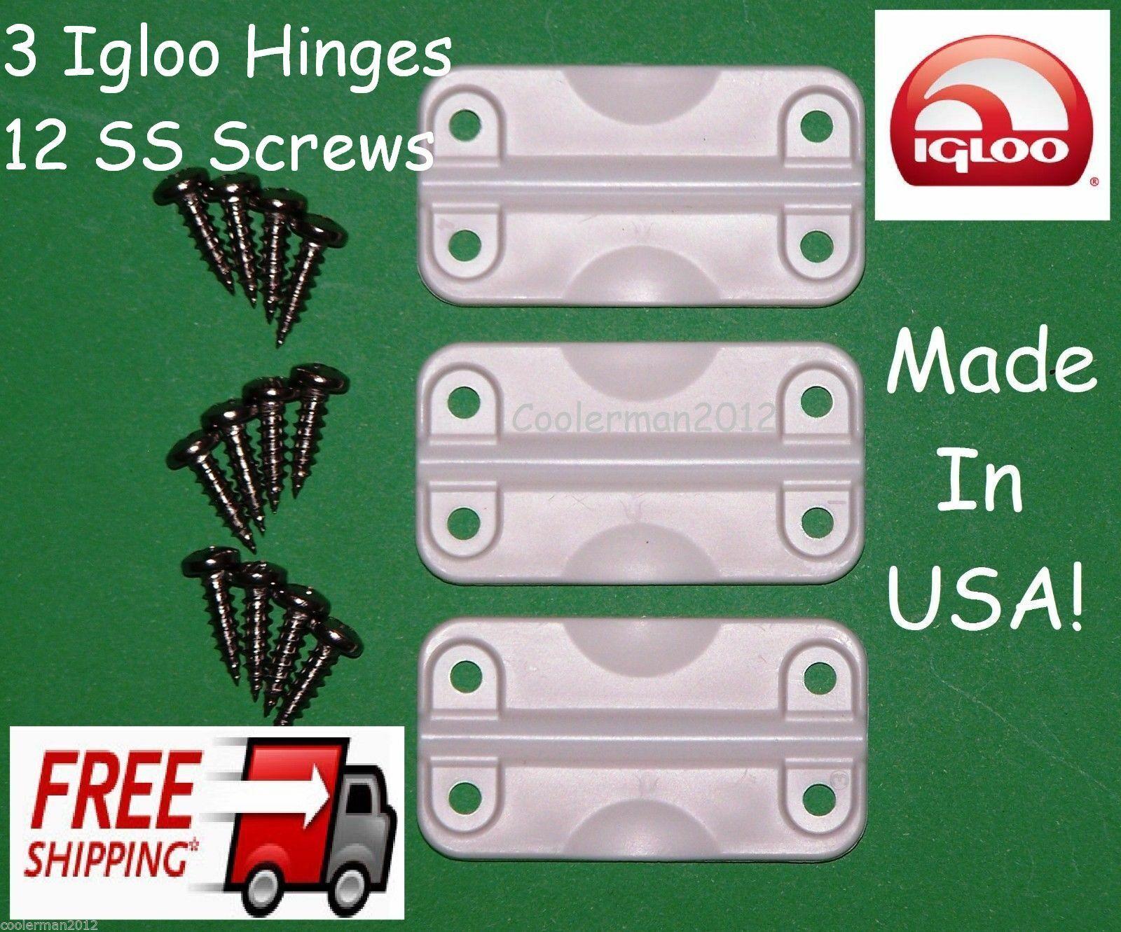 3 pk Igloo Cooler Hinges Replacement Plastic Hinge set 12 st