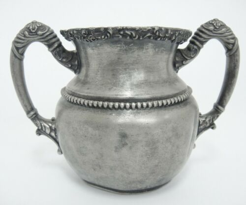 Antique Essex Silver Co Quadruple Plate Sugar Bowl Embellished Silverplate L88