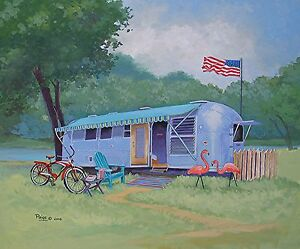 Vintage-Airstream-Travel-Trailer-Camper-Schwinn-Bike-Adirondack-Flamingo-RV-ART