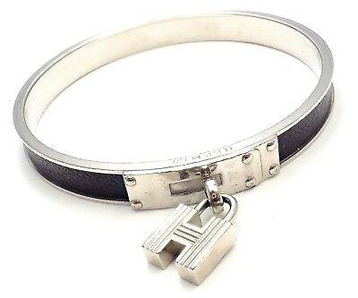 "Rare! Authentic Hermes Kelly Cadena Lock Charm Black Leather Bangle Bracelet 8"""