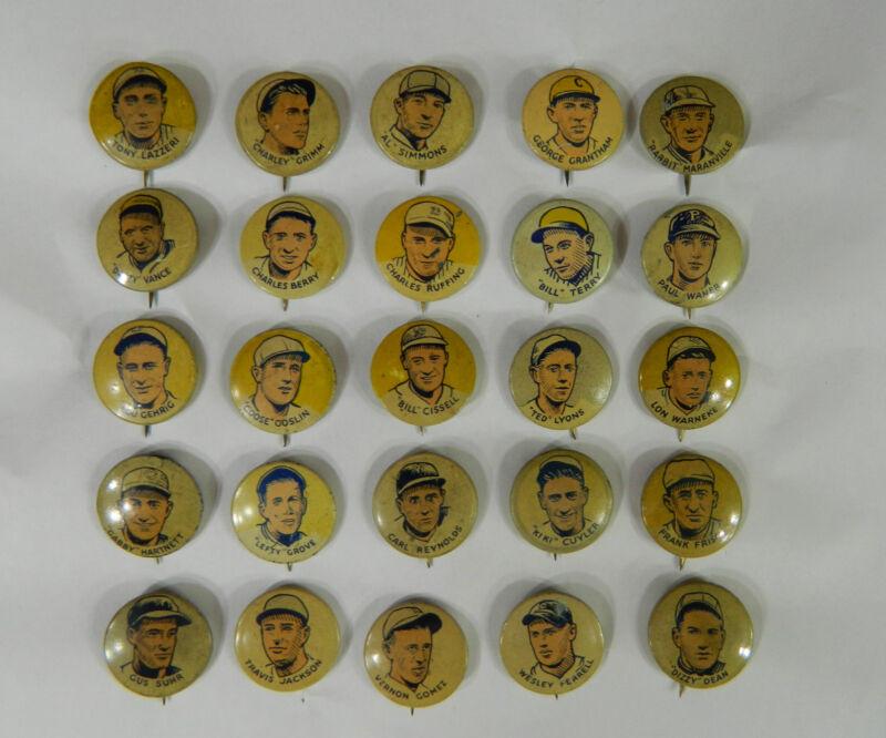 Complete 25 Pin Set Cracker Jack Pinback Baseball Series