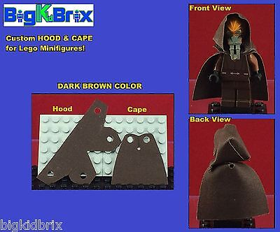 HOOD & CAPE (DARK BROWN) Custom made for LEGO Minifigures PRICE gets 2 SETS  #3