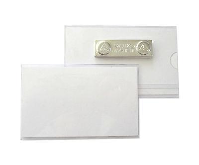 5 x Namensschilder, Ausweishüllen aus Hart-PVC mit Magnet 75x40 mm