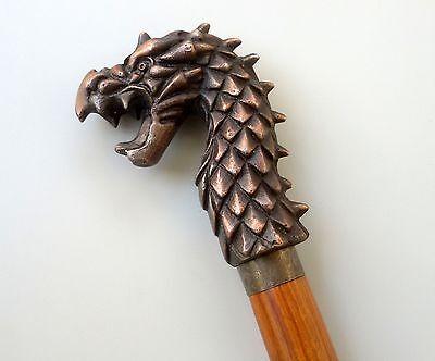 Lot of 3 Pcs Rare Bronze Antique Hardwood Carved Dragon Head Walking Stick Cane
