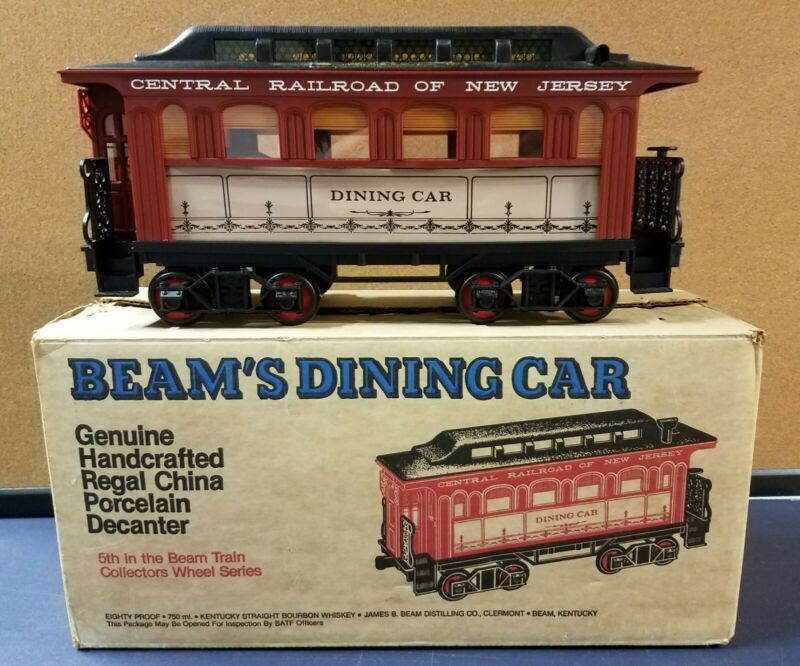 1982 Jim Beam Train Dining Car Decanter Central Railroad empty Original box