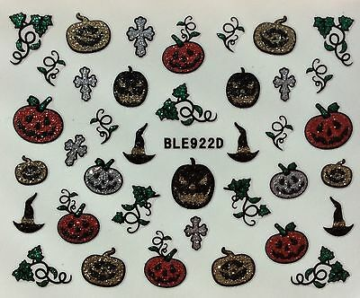 Nail Art 3D Glitter Decal Stickers Halloween Pumpkin Witch Hat BLE922D
