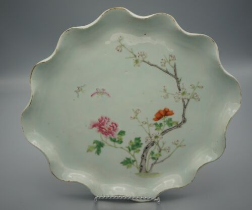 19TH C ANTIQUE CHINESE CIRCULAR FAMILLE ROSE FOOTLESS DISH / CHARer
