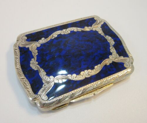Antique Continental Silver Sapphire Blue Enamel Compact