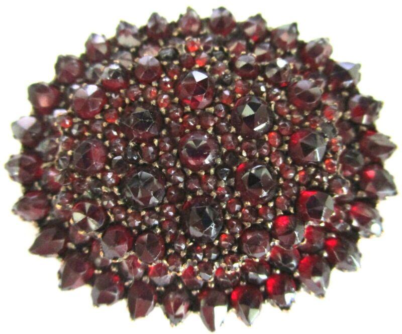 Antique Victorian Genuine Garnet Mourning Hair Locket Pin
