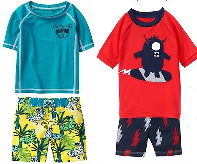 Gymboree Baby Toddler Boy RashGuard & Swim Trunks Set 6 12 Mos 2T NWT