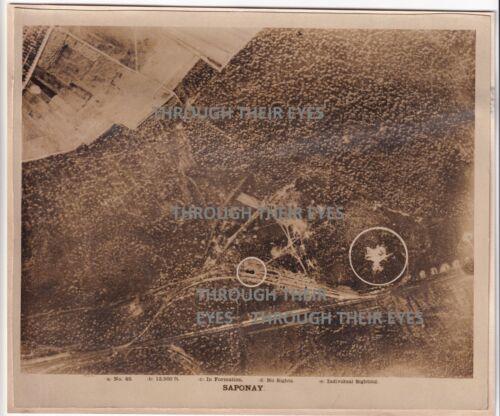 Original WW1 Aerial photo Bombing Saponay France  1918 103 squadron