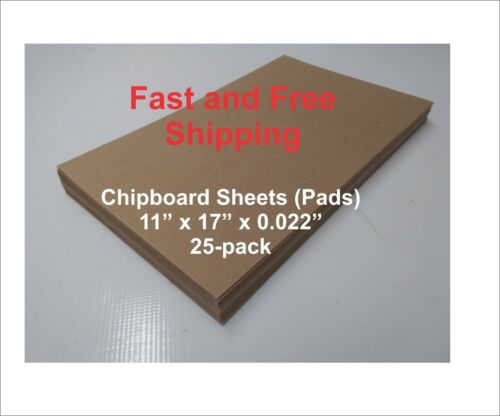 """11"""" x 17"""" x 0.022"""" Chipboard Sheets (Pads), 25-Piece pack"""
