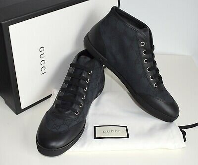 GUCCI Damen Schuhe Sneakers Canvas Leder schwarz Größe 38,5 39 39,5 40
