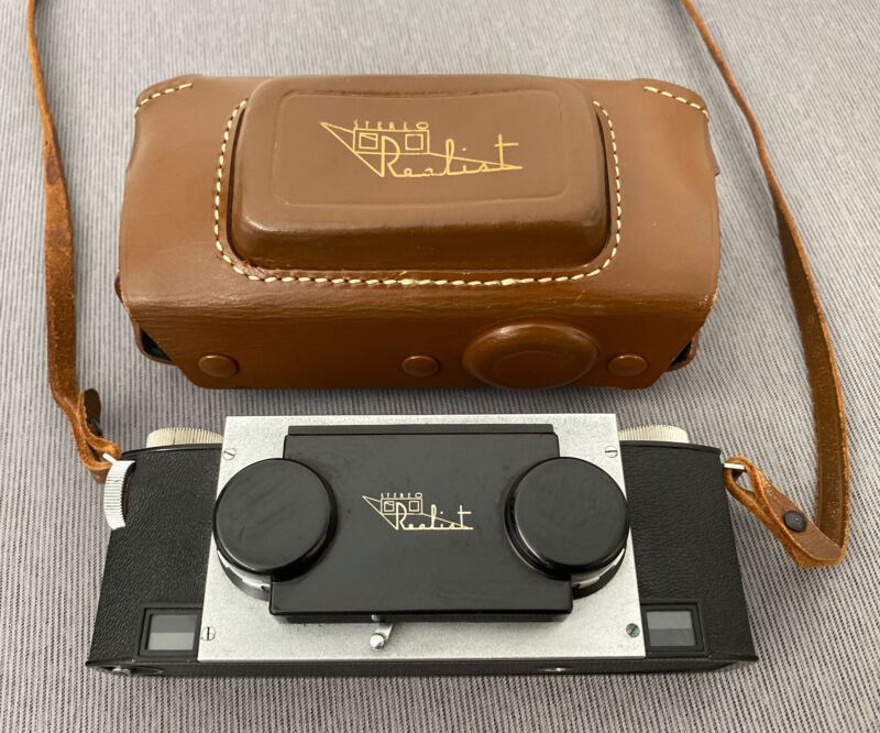 VINTAGE ANTIQUE DAVID WHITE REALIST STEREO CAMERA ST41 F/3.5 LENS W/LEATHER CASE