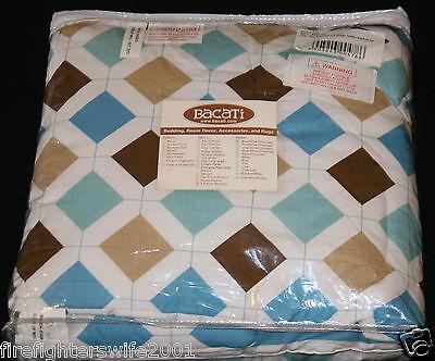aqua chocolate mod diamonds stripes toddler bedding