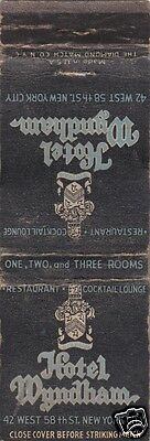 Vintage Hotel Matchbook Cover  Hotel Wyndham  New York City