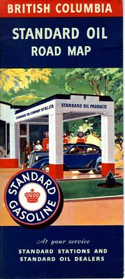 1938 Standard Oil Road Map: British Columbia NOS
