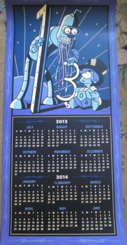 Futurama 2013 Comic-Con SDCC double sided 2013 & 2014 19x40 inch calendar poster