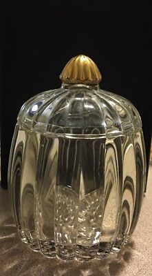 JEANETTE GLASS SQUARE PEDESTAL CLEAR CANDY JAR 22K round small pumpkin  ()