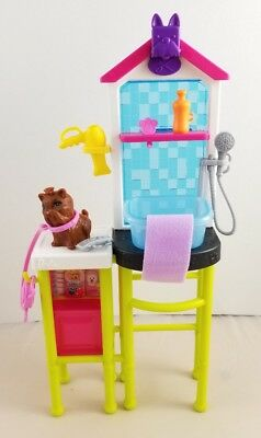 New Just Deboxed Barbie Doll Careers Pet Groomer Playset Dog Pet Bath Accessory