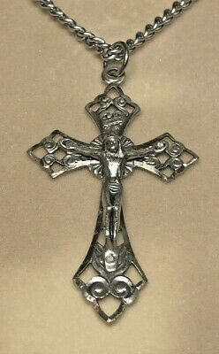 925 Sterling Silver Antique Finish Latin Cross Charm Pendant 47mm x 25mm