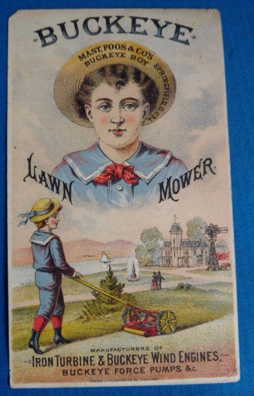 Vintage Antique Buckeye Lawnmower garden windmill turbine trade card advertising