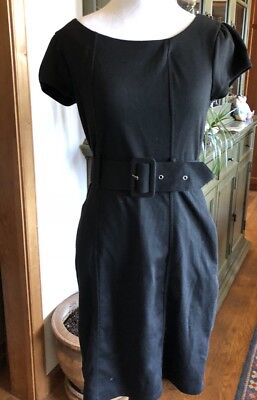 H&M Belted Little Black Dress SZ 8  Cap Sleeves Soft Poly Knit Eur 38 (Belted Little Black Dress)